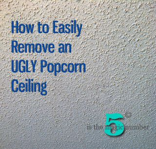 5 is the Magic Number: How to Easily Remove an UGLY Popcorn Ceiling ... this wonderful woman did it herself! maybe worth a try in a small bathroom to see just how 'easy' it will be before tackling the whole house!