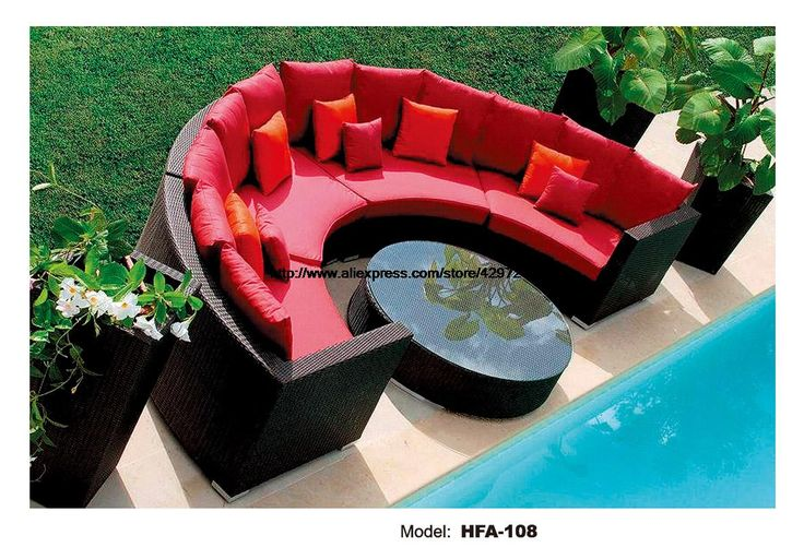 Half Round Wicker Sofa Set Garden Sofa  with Coffee Table Health PE Ratten Furniture Patio Outdoor Sofa Set HFA108-in Garden Sofas from Furniture on Aliexpress.com | Alibaba Group