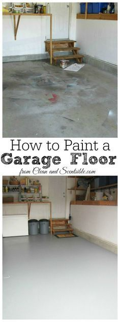 Great tutorial on how to paint a garage floor. I can't believe what a difference this makes! // cleanandscentsible.com