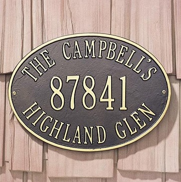 Outdoor House Number Plaques - Frontgate website = $99   BLACK WITH WHITE LETTERING  Standard size seems to fit the wall next to the garage.