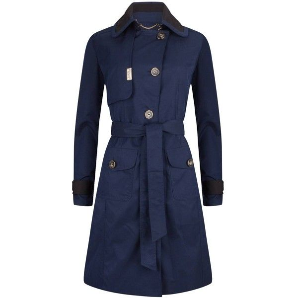 PIOGG All-Weather Fashion Coats - Navy Waterproof Trenchcoat (29.725 RUB) ❤ liked on Polyvore featuring outerwear, coats, pleated trench coat, navy blue coat, lightweight trench coat, navy trench coats and fitted trench coat