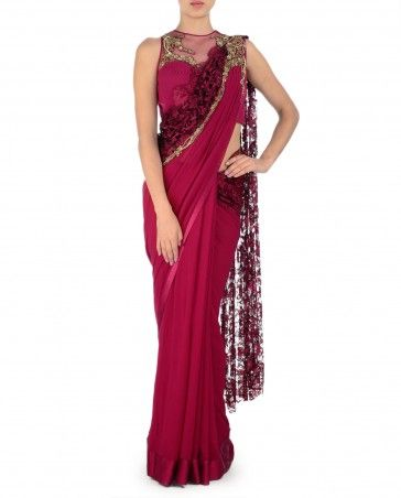 Wine Red Sari Gown with Lace Pallu