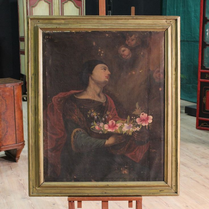 """Ancient painting """"Saint with flowers"""" of the eighteenth century. Visit our website www.parino.it"""