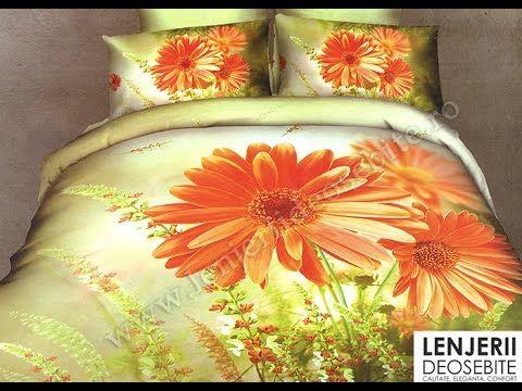 Lenjerie verde cu flori portocalii A-8270 Cumparati aceasta lenjerie de pat intrand aici http://www.lenjeriidepatdeosebite.ro