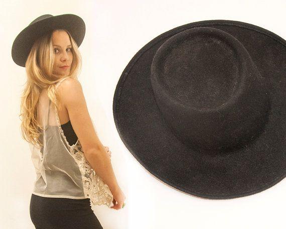 1970s Vintage Black Wool Wide Brimmed Hat | Gambler Rancher Flat Top Flat Brim Southwestern Hat | Hipster Boho Chic Mexican Rodeo Cowboy Hat