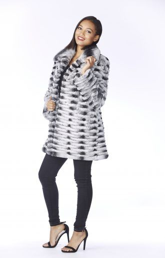 Cashmere Cape Rabbit Trim - Women's Fur Coats for Sale