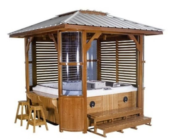 17 best hot tub ideas images on pinterest outdoor ideas for Spa gazebo kits