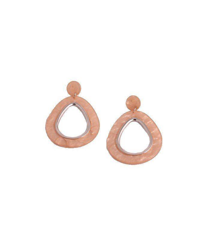 Oud roze oorbellen met ovale hanger|De lengtes van de oorbellen zijn 7 cm | EAN: 8718189277268 | A-zone merksieraden