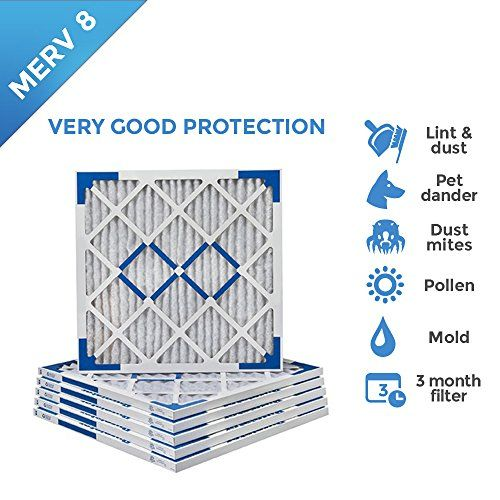 20x22x1 MERV 8 Pleated AC Furnace Air Filters. 6 PACK