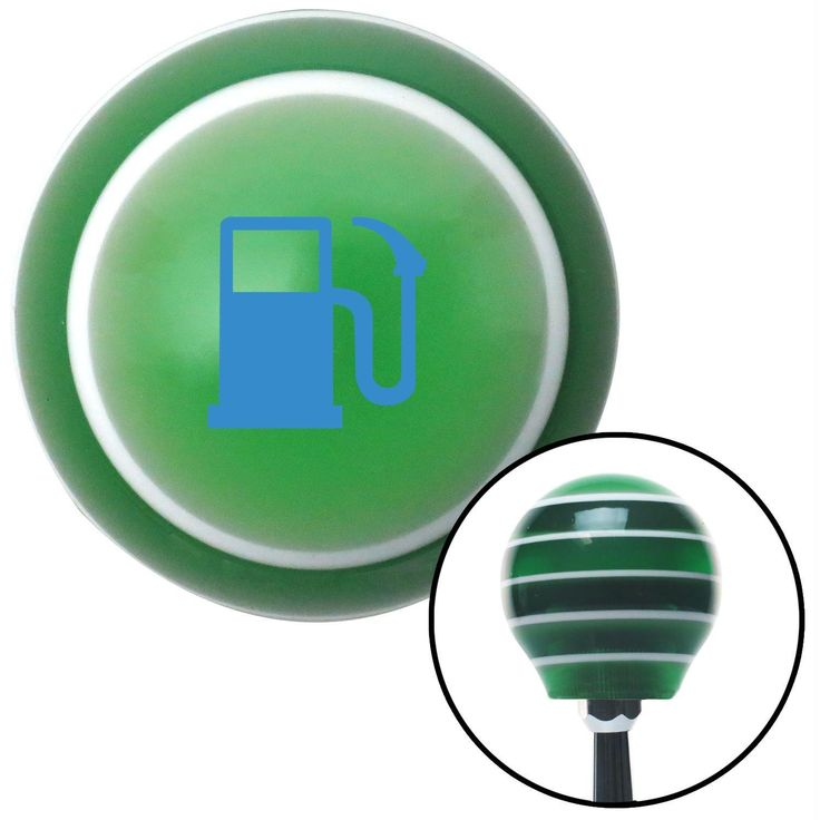 Blue Gas Station Tank Green Stripe Shift Knob with M16 x 15 Insert