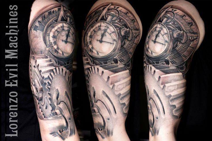 Compass - Watch - Mechanic Wheels - Ingranaggi - Orologio - Sestante - Realistic Black and Gray  Tattoo by Lorenzo Evil Machines, Roma - Italia