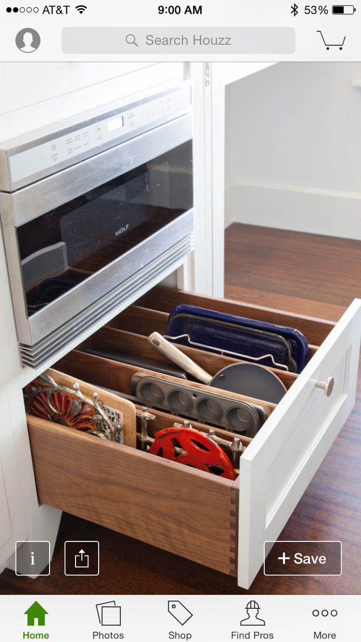 Tin bread box drawer insert - Perfect Drawer For Under Double Oven