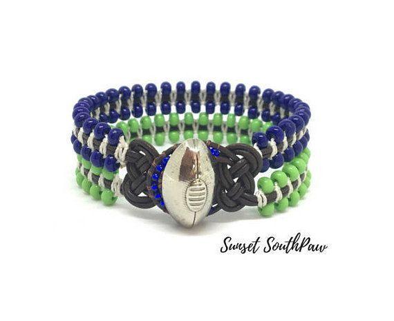 Blue and Green Beaded Football Bracelet Team Cuff Seahawks