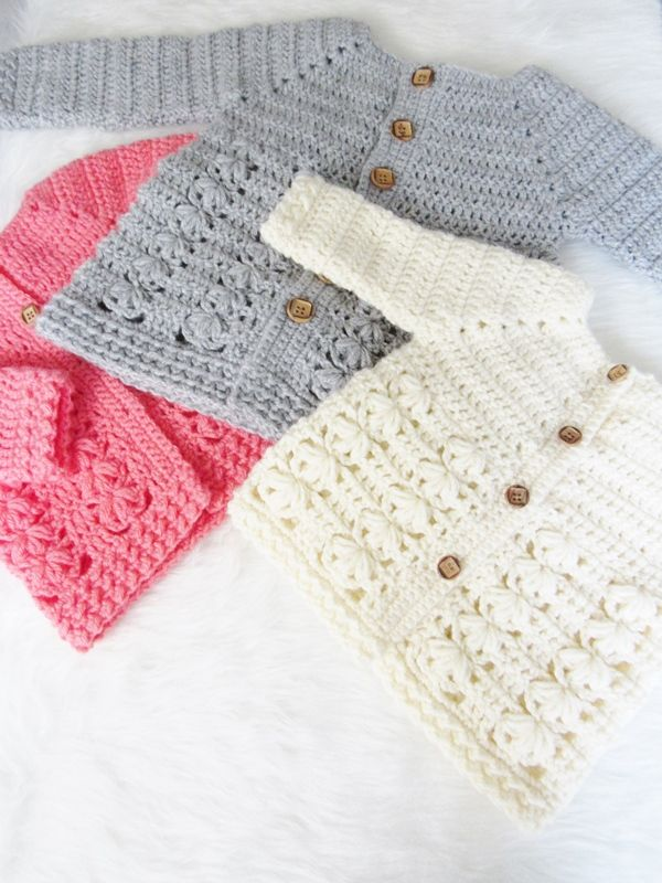 Textured Crochet Baby Sweater Pattern | Punto y ganchillo ...