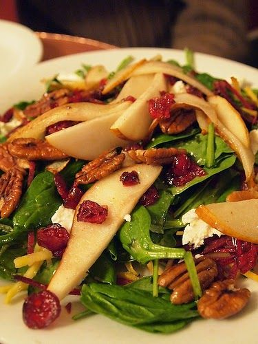 Pears, craisins, pecans, goat cheese spinach salad... #healthy #appetizer recipe