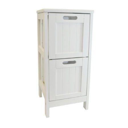 Attirant White Shaker 2 Drawer Bathroom Storage Unit Slimline Chest Of 2 Bedside  Cabinet