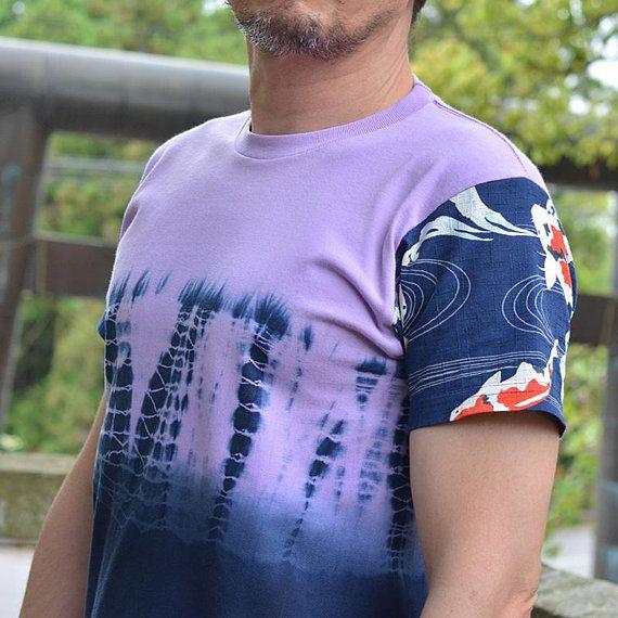 Original mens t-shirt. Japanese clothing. Tee. Purple. Custom t shirt. Indigo. Tie dye. Made in Japan. Unique. Birthday gift. For him