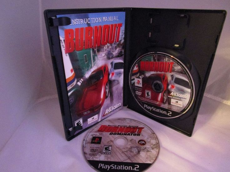 Burnout (Complete) & Burnout Dominator Disc Only (Sony PlayStation 2, 2001) #Aklaim