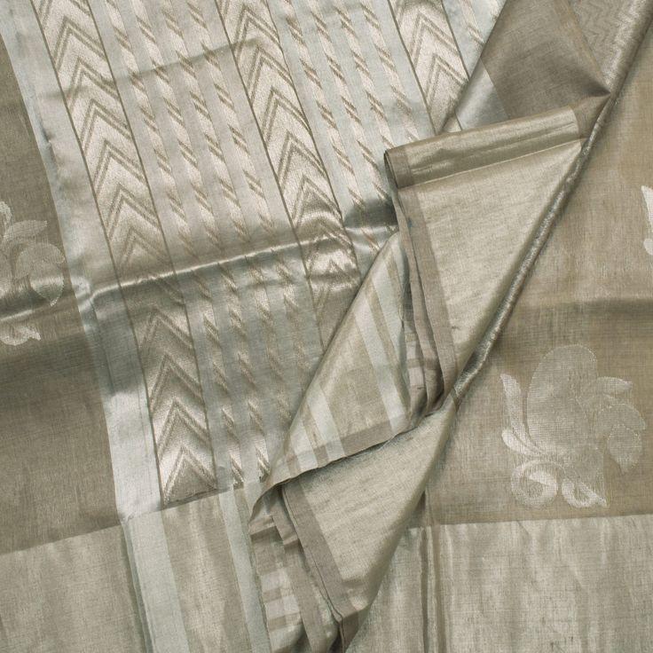 Sailesh Singhania Handwoven Linen Tussar Silk Sari 1001896 - Sari / All Saris - Parisera
