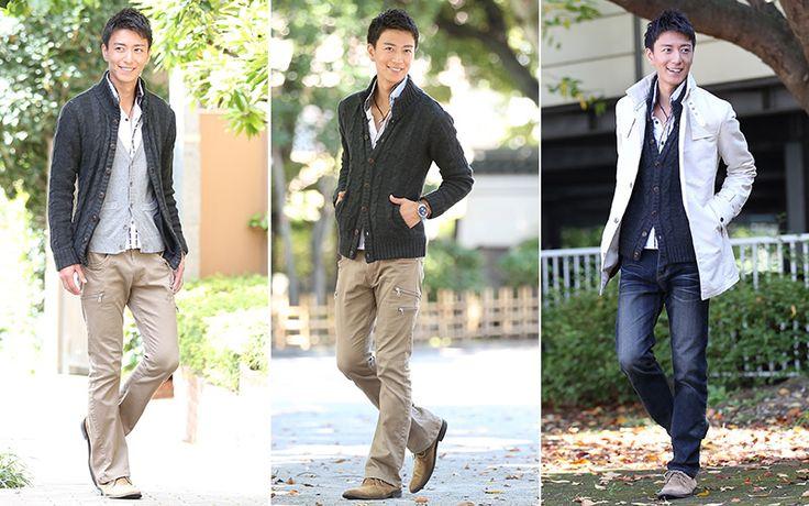 【羽織るだけで大人の風格を作り出す!】ケーブル編みスタンドカラーニット - メンズファッション通販│モテる服選び MENZ-STYLE