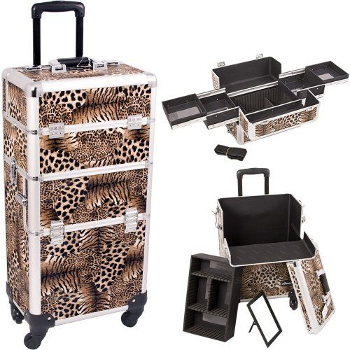 14.5 inch 2 in 1 Interchangeable Series Faux Leopard Print Makeup Carrying Tote Cosmetic Train Case Pro Beauty Artist Studio with Four 360 Degree Rotating Wheels and Telescoping Drag Handl inch 2 in 1 Interchangeable Series Faux Leopard Print Makeup Carrying Tote Cosmetic Train Case Pro Beauty Artist Studio with Four Degree Rotating Wheels and Telescoping Drag Handle 14.5 360 ** Check this useful article by going to the link at the image. #MakeupBrushHolder