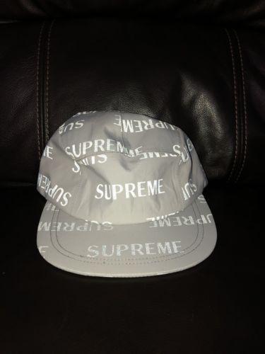 4ac8017ca3d Brand New Rare Supreme FW16 Reflective Repeat Taped Seam Camp Cap Silver  White (eBay Link)