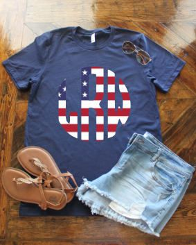 American Flag Monogram Shirt by GoldenMonkeyDesigns on Etsy