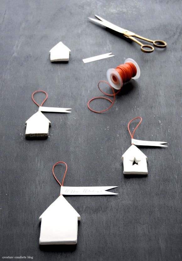 diy simple clay house ornament gifts