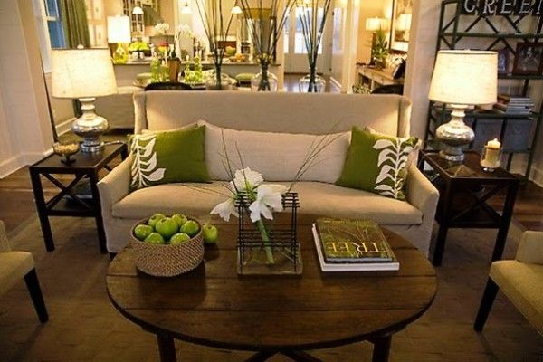 What a nice small couch and the olive green and cream color with the wood coffee table makes it for Olive green accessories living room