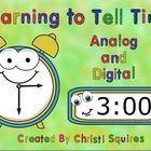Learning to Tell Time Analog and Digital Clocks SMARTBoard Lesson    This SmartBoard lesson will teach the First Grade Common Core Standard: Tell tim...