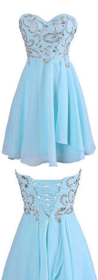 Sweetheart Chiffon Blue Homecoming/Prom Dresses With Beading ED72