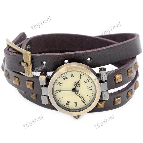 Ретро 3 слоя Круглые ногти Кожаный ремешок Кварцевые часы браслет часы наручные часы для Леди WWT-337632