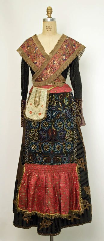 Late 19th century ensemble. Not the usual kind of dress you would see in the 19th century unless you were the queen of bohomia.
