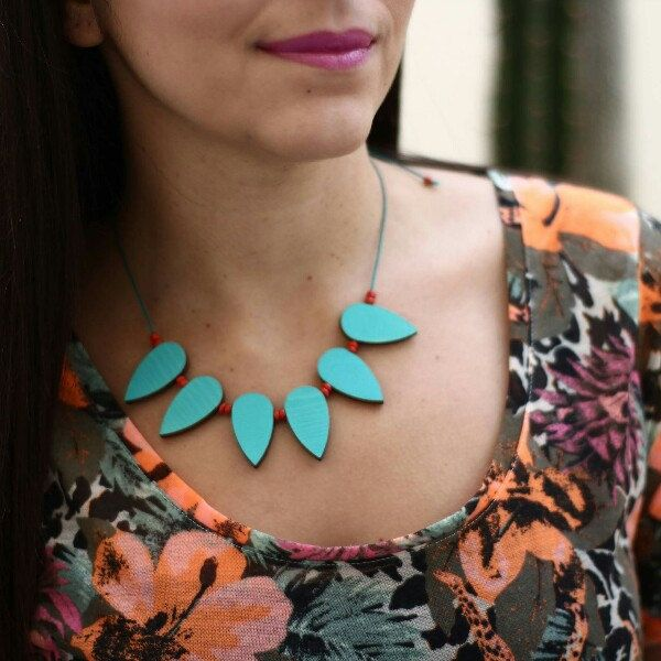 Wooden upcycled necklace