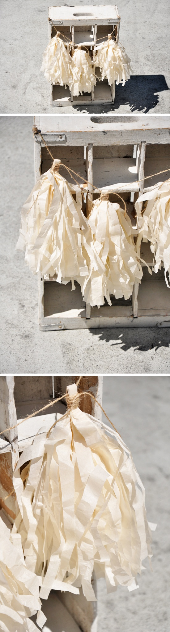 tissue paper tassels. Instead of tissue paper, we could use burlap or fabric of wedding colors