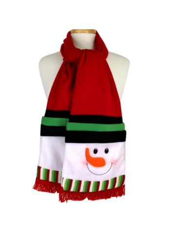 $16.50 Snowman Red Fleece Scarf