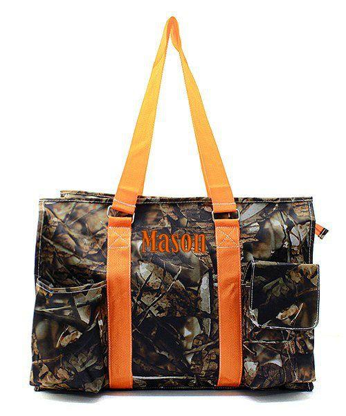 Monogrammed Camo Diaper Bag Orange 18 Large by GiftsHappenHere