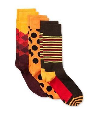 33% OFF Happy Socks Women's Multi Socks (3 Pairs) (Red/Orange/Brown)