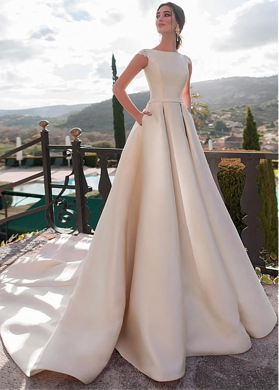 Magbridal Exquisite Tulle & Satin Bateau Neckline A-line Wedding Dresses With Lace Appliques & Belt & Pockets
