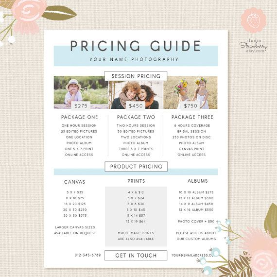 Photography Pricing Template, Pricing Guide Template, Pricing List, Price List Photoshop Template, Pricing Template, Photographer Price List