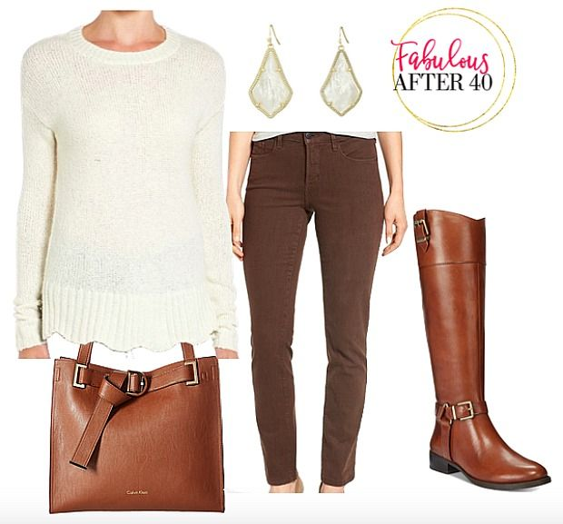 brown-skinny-jeans-scalloped-sweater
