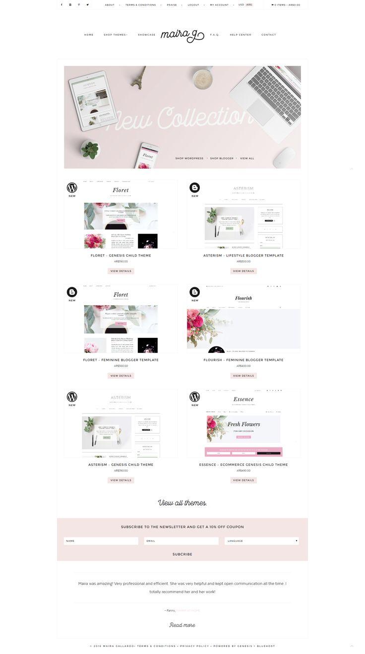 Feminine, WordPress, eCommerce site by Maira G.  WordPress Themes   Genesis Child Theme.