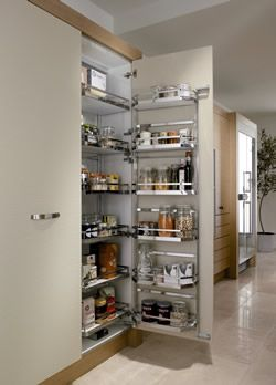 Arena Style tandem larder unit, 600mm wide, 1700mm high, silver/chrome, with gloss white shelves - DIY Kitchens
