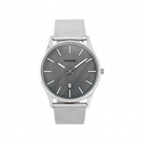 Koop dit DUKUDU Abbi Zilver/Grijs/Parelmoer horloge DU-101 horloge online in onze webwinkel.                     Dit is een dames horloge met een quartz uurwerk.                             De kleur van de kast is zilver en de kleur van het uurwerk is grijs, parelmoer.                             De kast is gemaakt van rvs en de band van het horloge van rvs.                             Het uurwerk is analoog en er wordt gebruik gemaakt van mineraalglas.                         ...