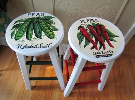Painted vintage seed packet art.  Making old bar stools new again.