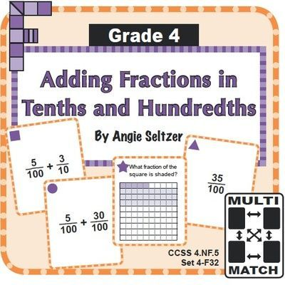 Multi-Match Game Cards 4F: Adding Fractions in Tenths and Hundredths from K-8 MathPaths on TeachersNotebook.com - (10 pages) - Students will learn to add fractions in tenths and hundredths by using these printable cards (CCSS 4.NF.5). These are perfect to use in math centers, by partners or groups.