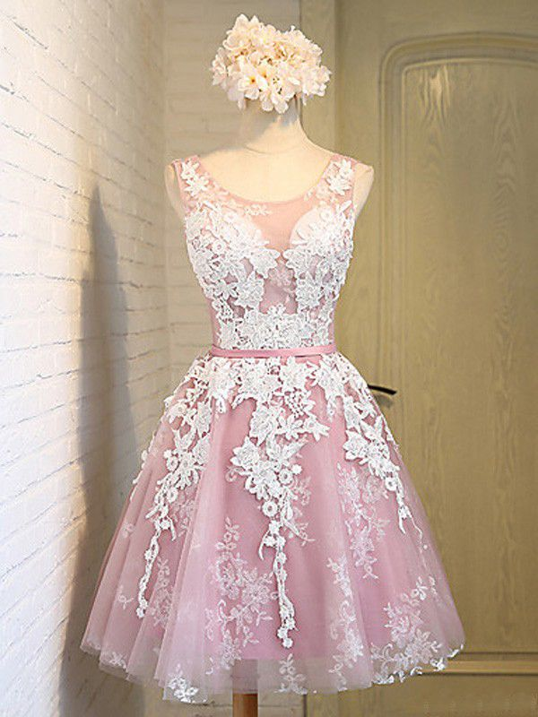 Homecoming Dress Tulle Scoop A line with Applique and Ribbon Short Dress Party…