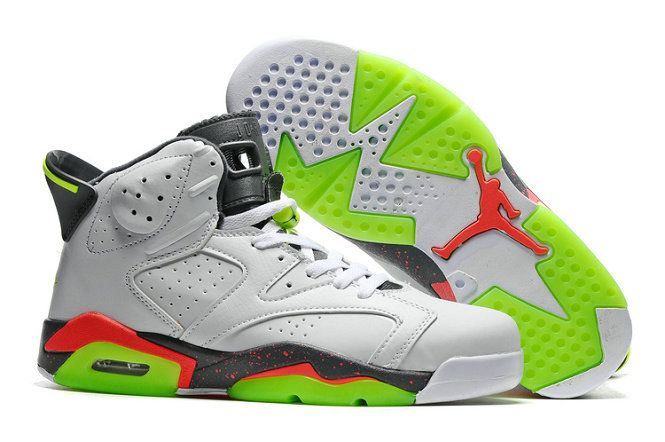 finest selection 8c507 23fba ... purchase authentic cheap air jordan 6 wholesale green red white black  basketball shoe authentic cheap air