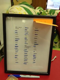 class list in a picture frame easy to mark and erase. This is genius.