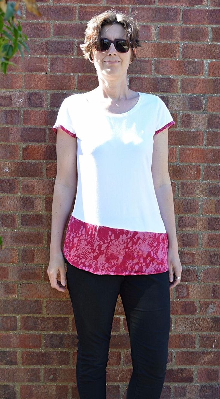 Update your wardrobe with a quick t shirt refashion. Combine two t shirts to create your own. Full tutorial for this quick t shirt refashion on the blog.